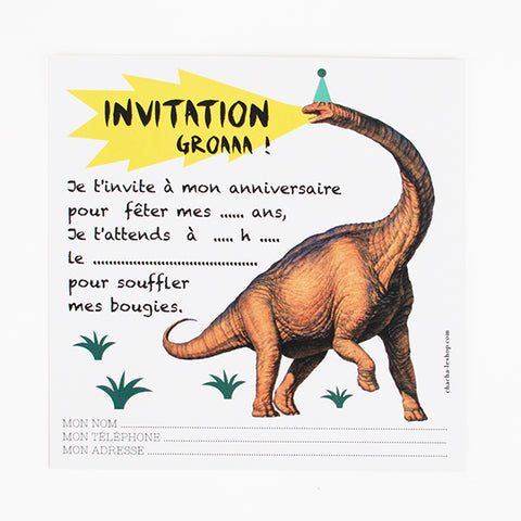 8 invitations - Dinosaur