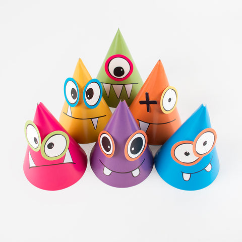 6 Party hats - Multicoloured monsters