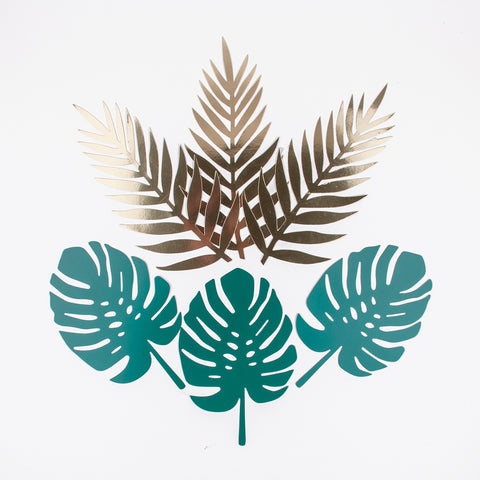 6 tropical leaves - Green and gold
