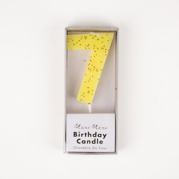 1 sparkling yellow number candle - 7 years old