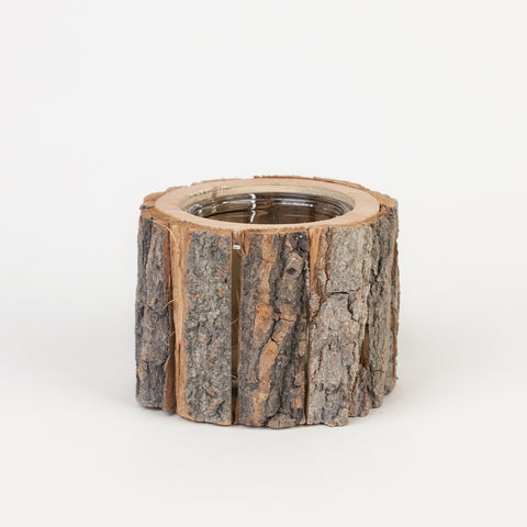 1 candle holder - Log of wood