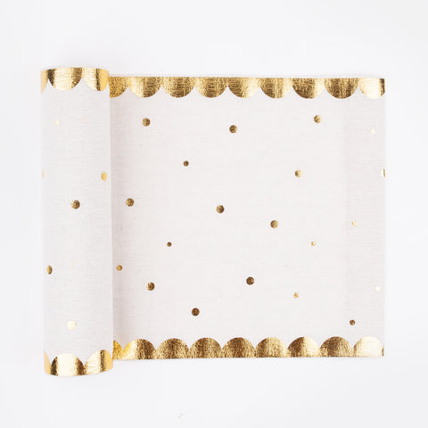 1 table runner - Scalloped with golden polka dots