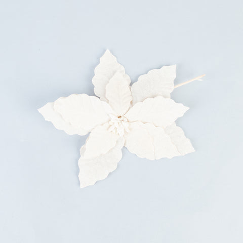 1 Christmas Linen Flower - White Spangle