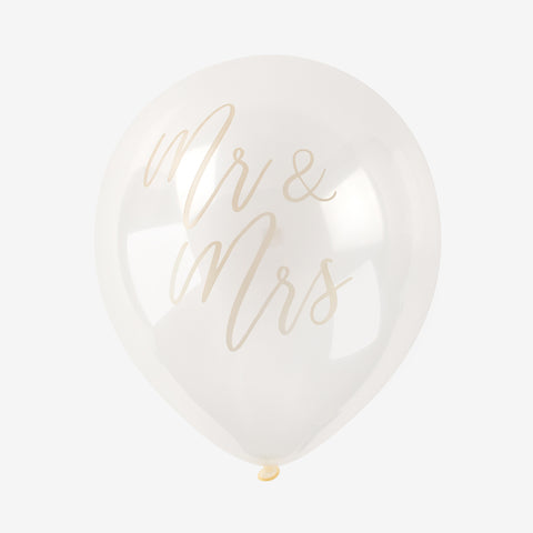 "5 Balloons ""Mr and Mrs"" - Gold"