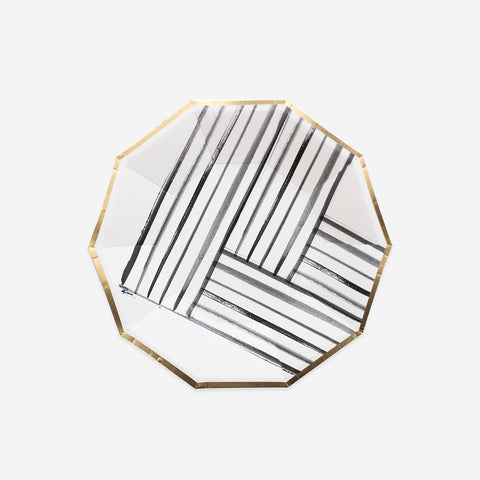 8 small plates - White and black brush strokes