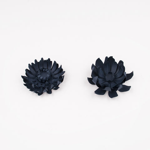 3 paper decorations - Dark navy blue flower