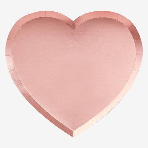 8 plates - Rose gold heart