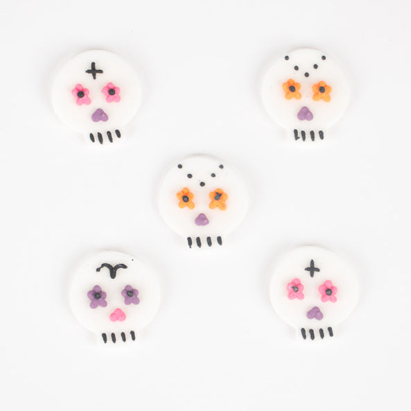 5 cupcake toppers - Mexican skull