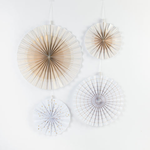 4 paper fans - White and gold