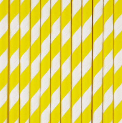 25 straws - Yellow stripes