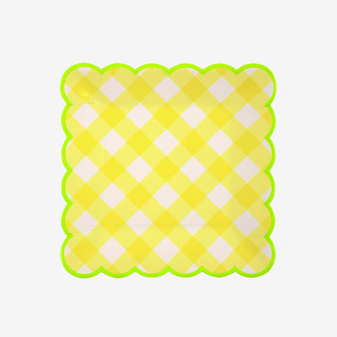 12 small square plates - Yellow Gingham