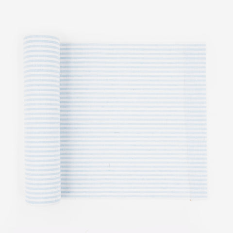 1 linen table runner - White & sky blue stripes