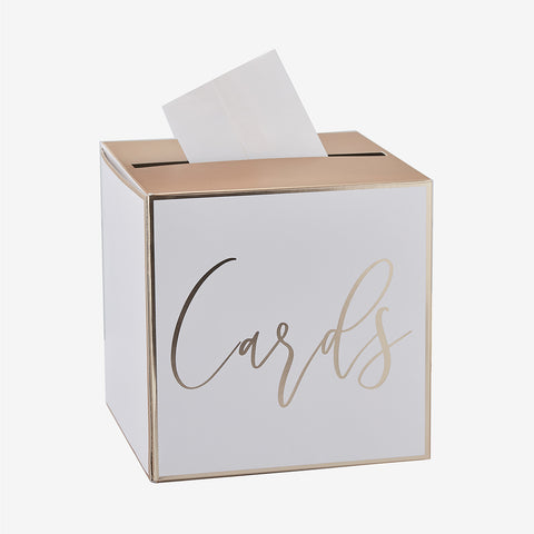 Wedding card box - White and gold