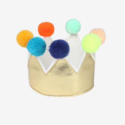 1 Golden crown with pompons