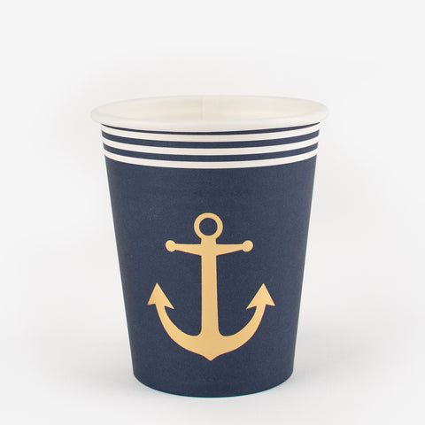 8 navy blue paper cups - Golden anchor