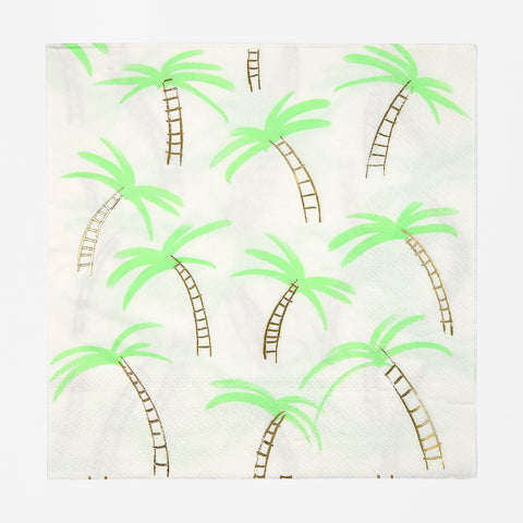 16 napkins - Large palm trees