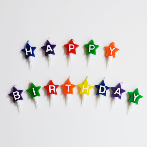 13 star shaped candles - Happy birthday