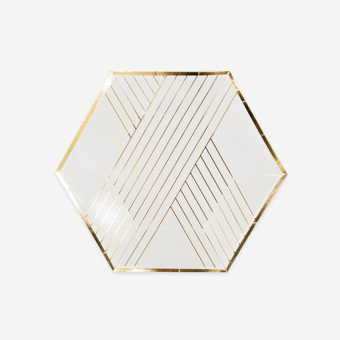 8 small plates - White with gold stripes