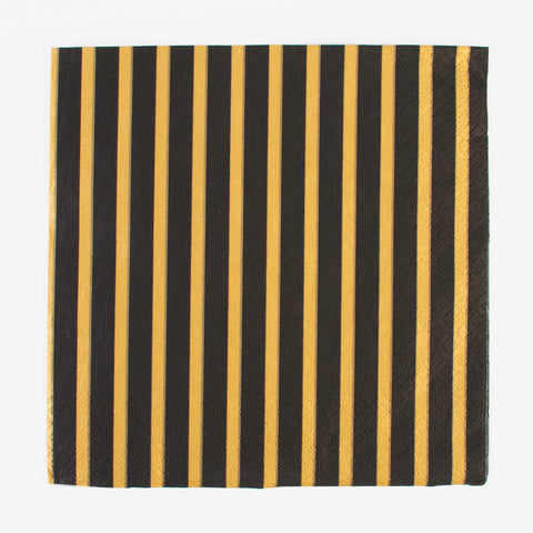 20 napkins - Black and gold stripes