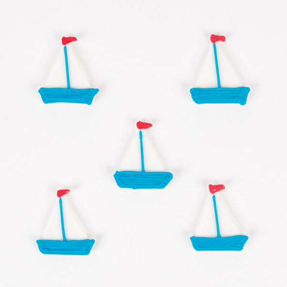 5 edible cupcake toppers - Boat