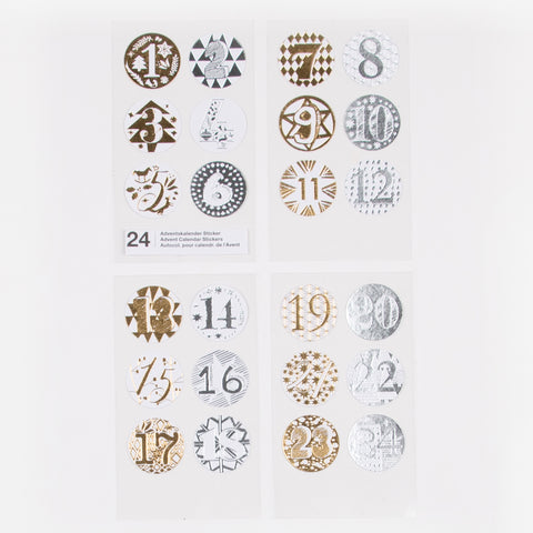 Advent Calendar stickers - Silver & gold