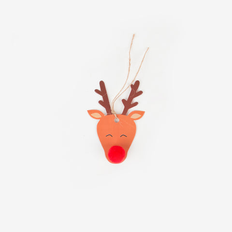 8 gift tags - Reindeer with red pompom