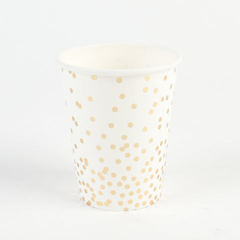 12 cups - Gold polka dots