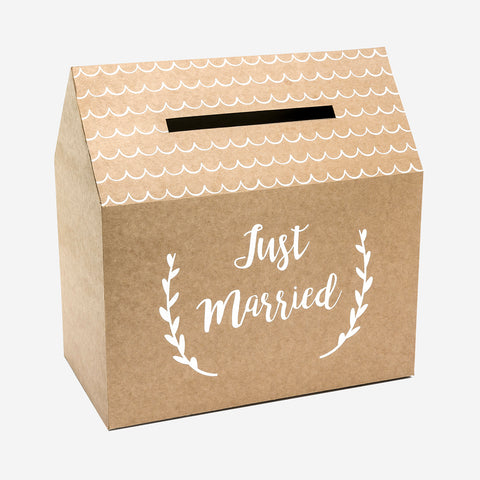 Wedding card box - Just married - Kraft and white
