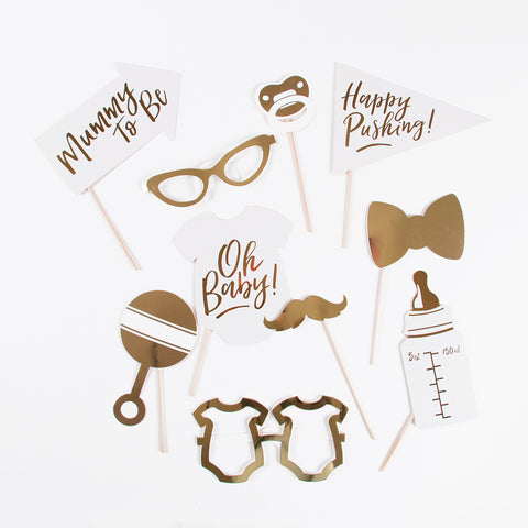 Photobooth Props - Gold Baby Shower