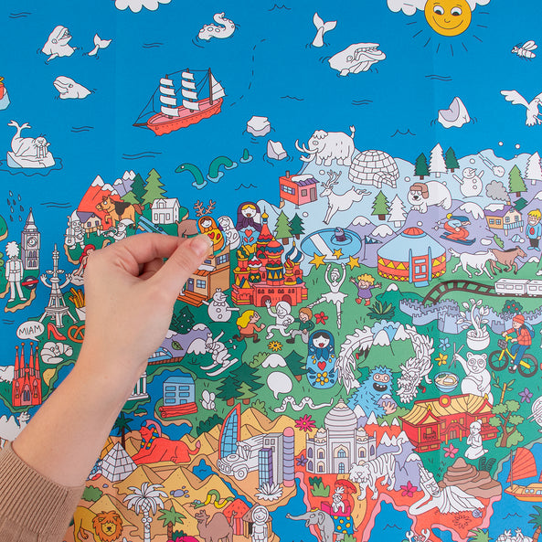 Activities - OMY - Giant poster and stickers - Atlas - My