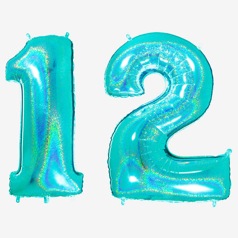 Big foil balloon - Number - Holographic aqua