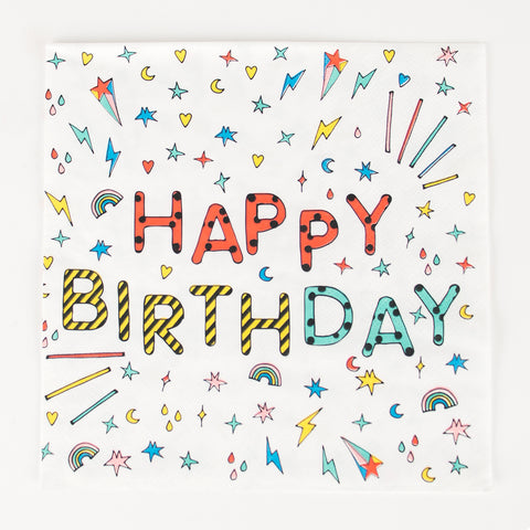 20 paper napkins - Happy birthday