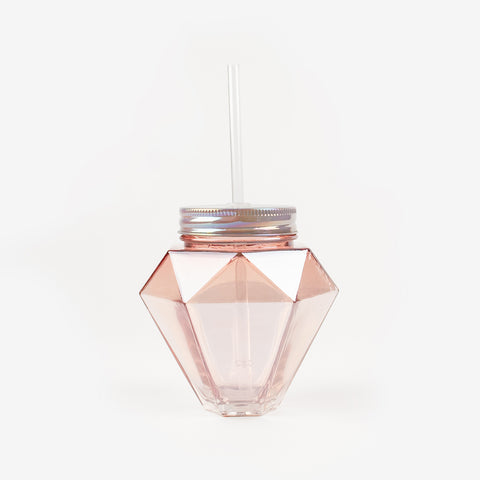 1 cup with a straw - Pink diamond