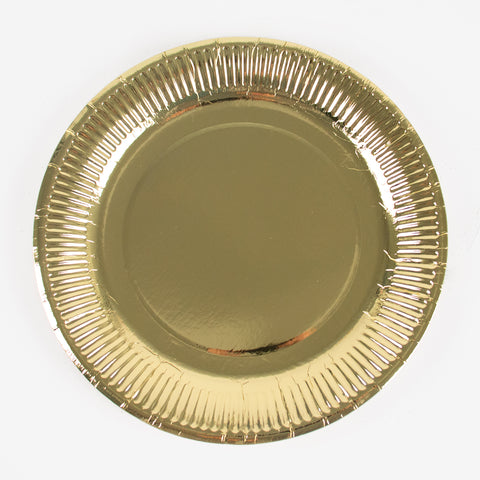 8 paper plates - Gold