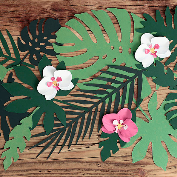 6 paper decorations - Tropical flowers