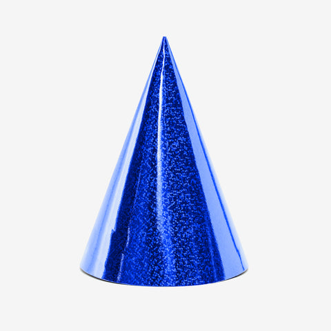 6 party hats - Holographic blue