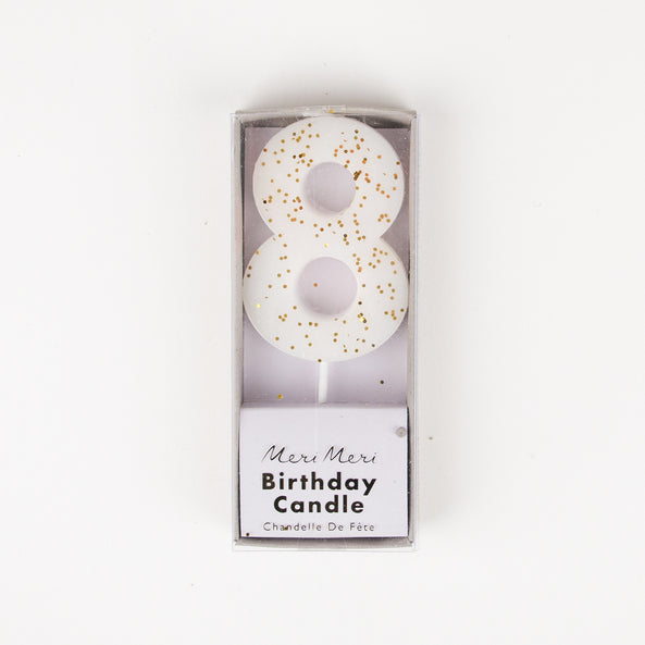 1 sparkling white number candle - 8 years old