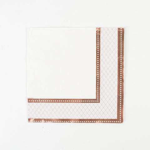 16 napkins - White and rose gold