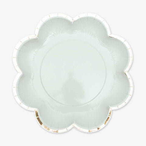 12 paper plates - Flower shape - Blue