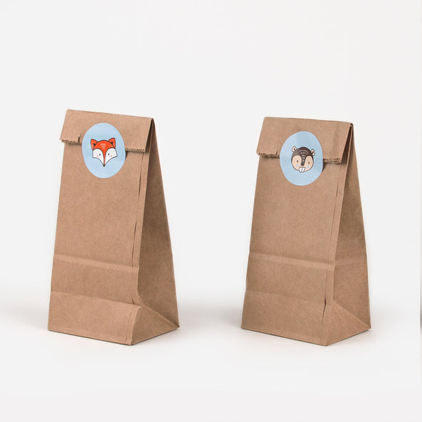 Set of 6 paper bags - Kraft and woodland animals stickers