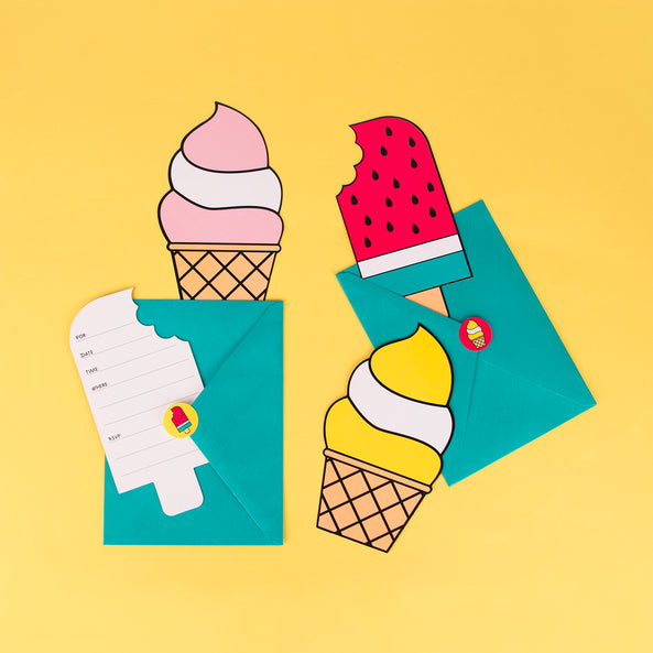 8 invitations - Ice cream