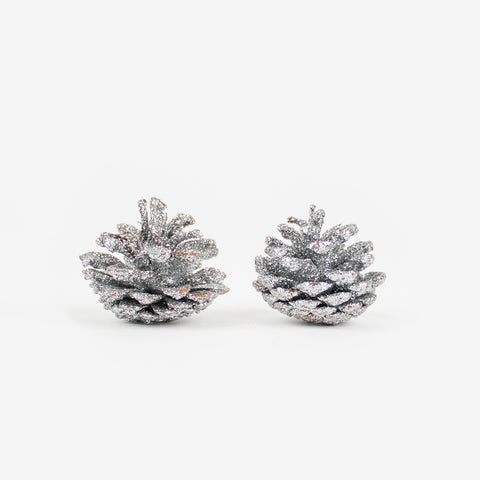2 Christmas decorations - Silver glitter pine cone