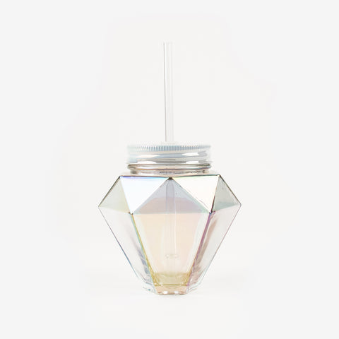 1 cup with a straw - Iridescent diamond