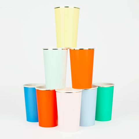 8 tall cups - Multicolour