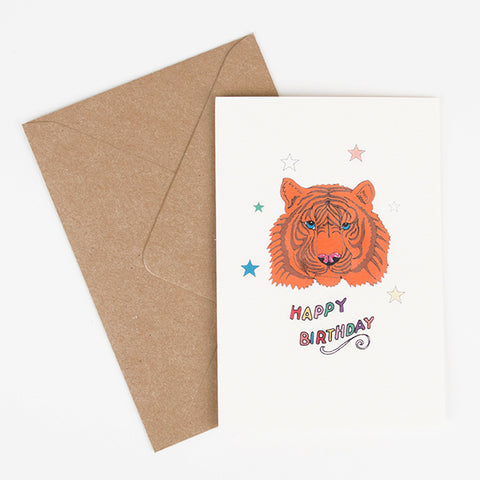 Happy Birthday greeting card - Tiger