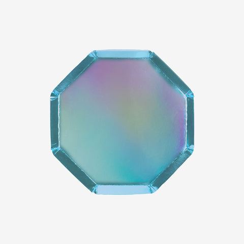 8 small octagonal plates - Metallic blue