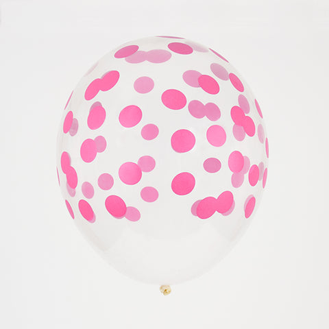5 printed confetti balloons - Bright pink