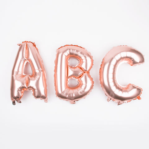 Small rose gold letter foil balloon