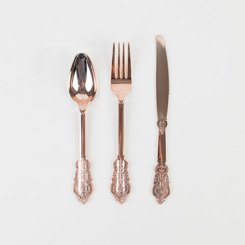 18 plastic cutlery pieces - Pink gold