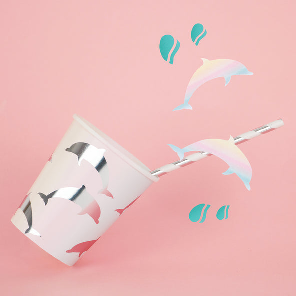 12 paper straws - Dolphin